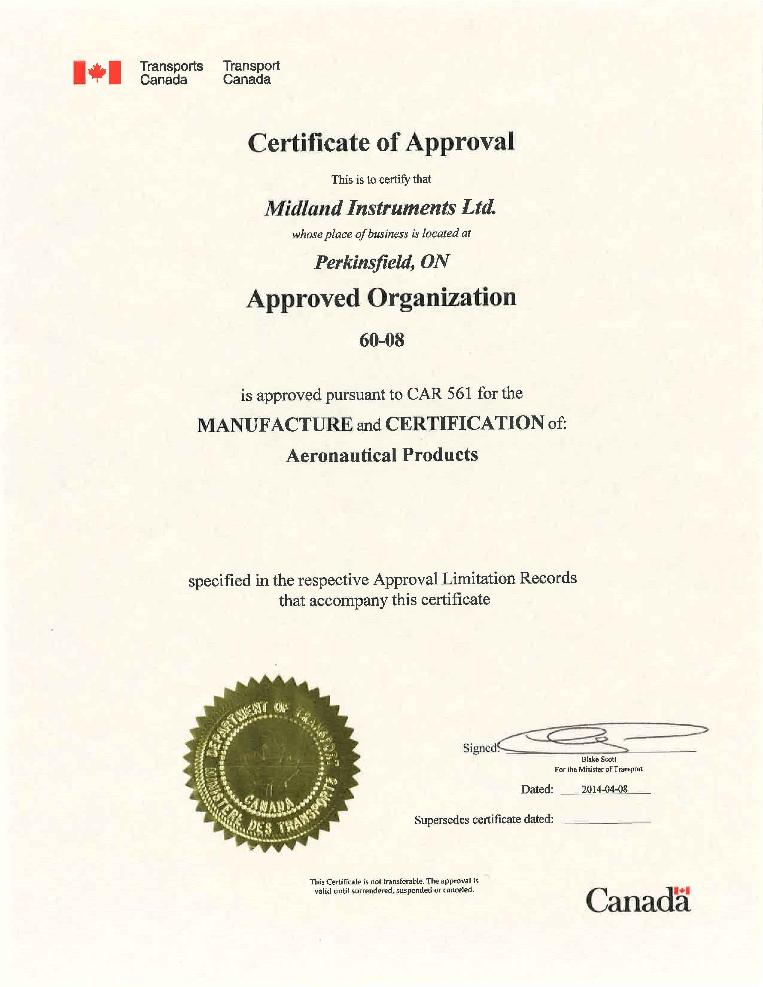 Approved Manufacturer of Aeronautical Products